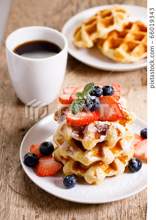 belgian waffles with fresh blueberries, 66019343