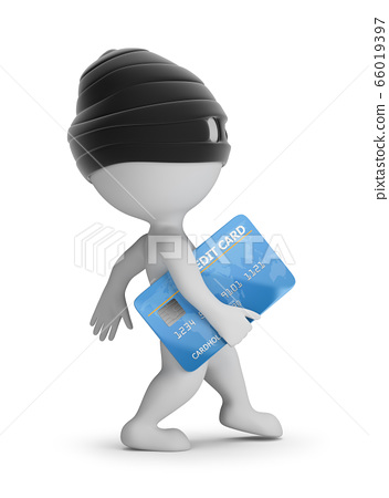 3d small people - thief with a credit card 66019397