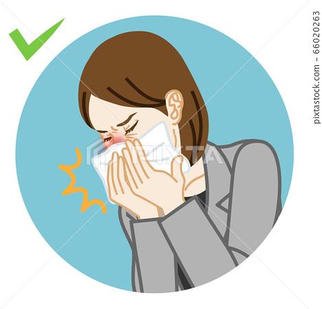 기침을하는 사업가 손수건으로 입을 가리는 원형 클립 아트 66020263