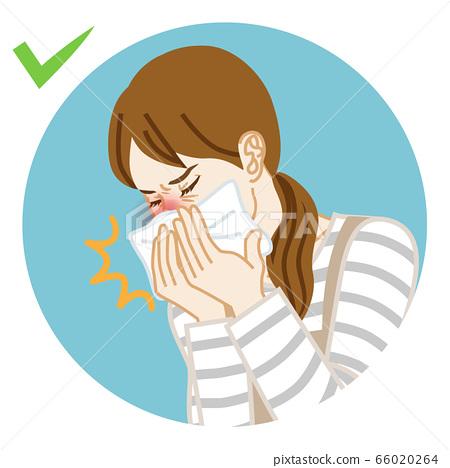 家庭主婦咳嗽用手帕捂著嘴的圓形剪貼畫 66020264