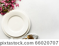 Elegance table setting with apple tree flowers, 66020707