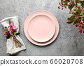 Elegance table setting with apple tree flowers 66020708
