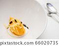 Fresh mango ice cream sorbet with pumkins seeds 66020735
