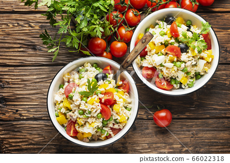 Cold summer salad with rice 66022318