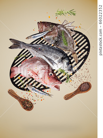Flying raw sea fish with ingredients for cooking. 66022352