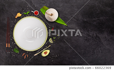 Empty bowl food background with various 66022369