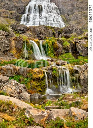 beautiful cascades of famlus Dynjandi waterfall, 66023372