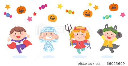 孩子們穿著萬聖節鬼服裝和跳躍 66023609