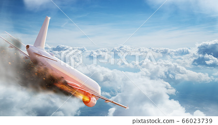 Flying aircraft with exploding aero engine 66023739