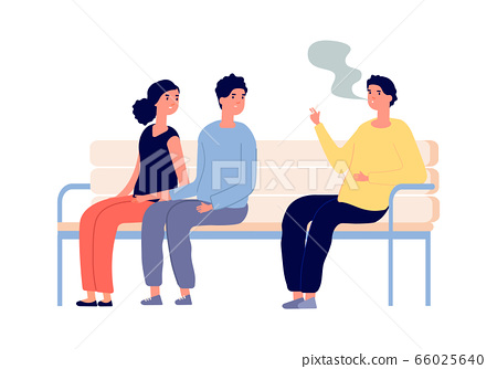 Smoking in public place. Man smoker, couple are passive smokers. Drug or nicotine addiction, people with bad habit. Relaxed guy vector character 66025640
