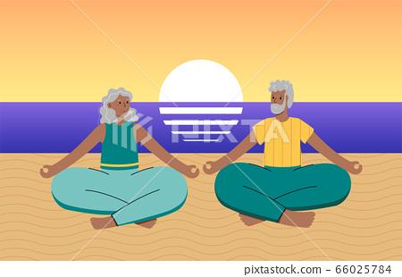Yoga flat vector illustration. Healthy lifestyle 66025784