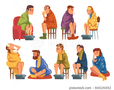 Sick People Wrapped Plaids Collection, Men and Women with Flu Heating their Feet in Basin with Hot Water, Measuring Temperature with Thermometer, Suffering from Headache Cartoon Vector Illustration 66026892