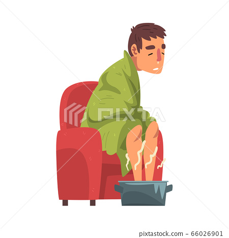 Sick Man Sitting under Green Plaid, Guy with Flu Heating his Feet in Basin with Hot Water Cartoon Vector Illustration on White Background 66026901