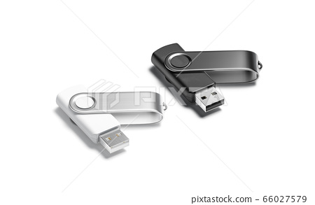 Blank black andwhite opened usb stick mockup set, side view 66027579