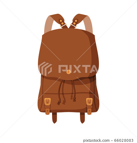 Brown Backpack, Front View of Schoolbag or Camping Backpack Flat Style Vector Illustration on White Background 66028083