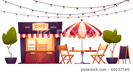 Outdoor cafe, summer booth in park, street food 66037566