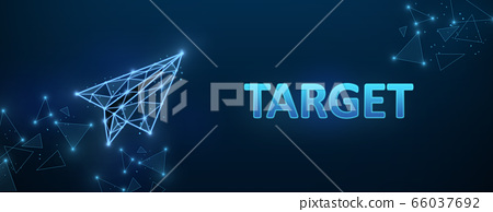 Banner with word TARGET and polygonal paper plane on dark blue background, creative illustration 66037692
