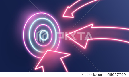 Reaching business goals concept. Neon arrows hitting target on dark background, illustration. Panorama 66037700