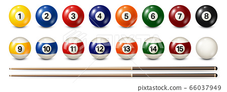 Billiard, pool balls with numbers collection. Realistic glossy snooker ball. White background 66037949