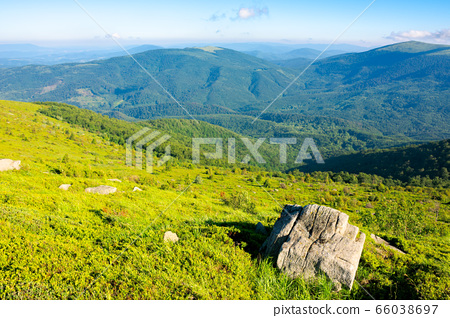 mountain summer landscape. meadow with Giant sharp 66038697