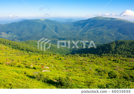 mountain summer landscape. meadow with Giant sharp 66038698