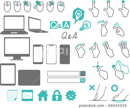 PC Smartphone Tablet Mouse operation Hand-drawn style icon set 66042026