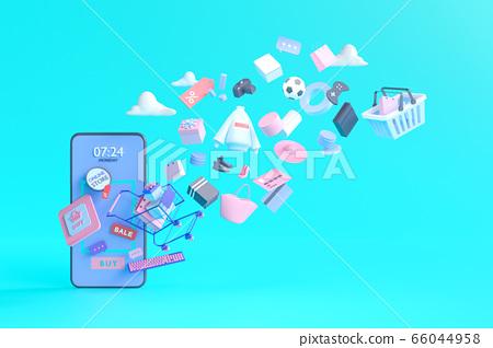 Shopping on-line. Online store on website or mobile application. 3d rendering background. digital marketing shop concept. 66044958