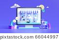 Shopping on-line. Online store on website or mobile application. 3d rendering background. digital marketing shop concept. 66044997