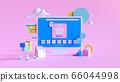 Shopping on-line. Online store on website or mobile application. 3d rendering background. digital marketing shop concept. 66044998