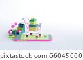 Shopping on-line. Online store on website or mobile application. 3d rendering background. digital marketing shop concept. 66045000