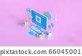 Shopping on-line. Online store on website or mobile application. 3d rendering background. digital marketing shop concept. 66045001