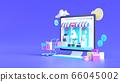 Shopping on-line. Online store on website or mobile application. 3d rendering background. digital marketing shop concept. 66045002