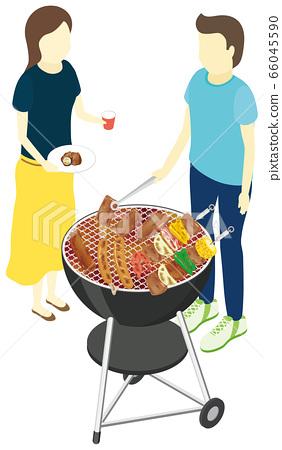 兩個男人和女人燒烤 66045590
