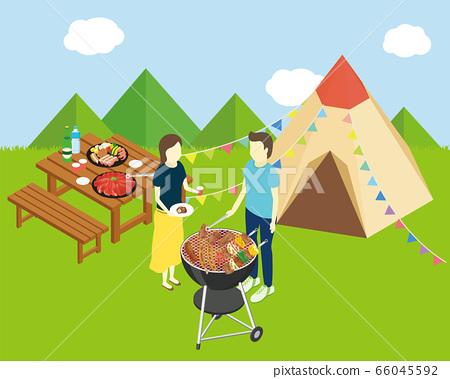 兩個男人和女人露營 66045592