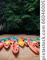 Kayak boats at Rock island of Koh Talabeng near Koh Lata - Krabi 66046005