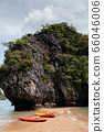 Kayak boats at Rock island of Koh Talabeng near Koh Lata - Krabi 66046006