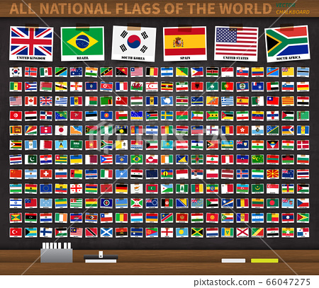 All national flags of the world on realistic black 66047275