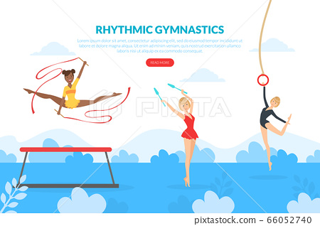 Rhythmic Gymnastics Landing Page Template, Professional Female Gymnasts Exercising in Gym, Athlete Girls Exercising with Sports Equipment, Web Page, Mobile App, Homepage Vector Illustration 66052740