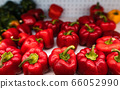 Red and green bell pepper on the shelves 66052990