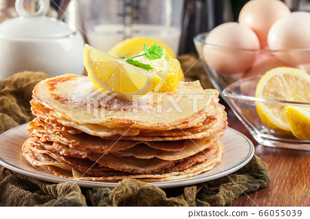 British pancakes with lemon and sugar 66055039
