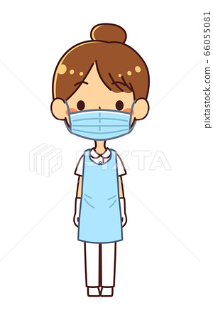 Illustration of a nurse woman wearing personal protective equipment (PPE) 66055081