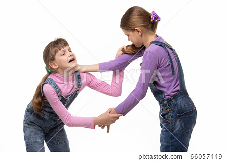 Two girls fight and hurt each other 66057449