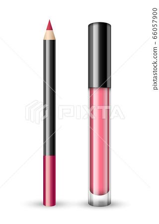Vector realistic set of pink lip pencil and lip 66057900