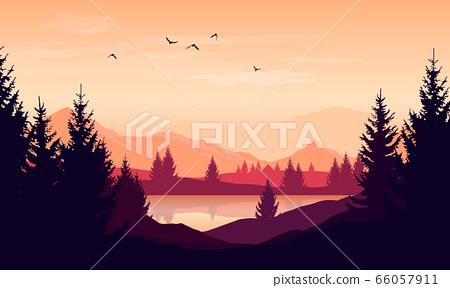 Vector cartoon sunset landscape with orange sky, 66057911