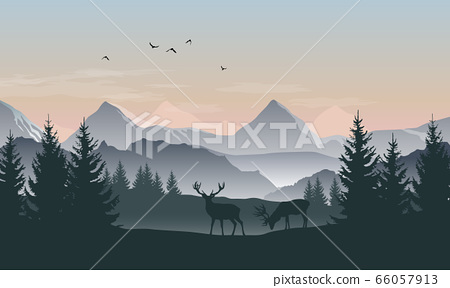 Vector landscape with silhouettes of mountains, 66057913