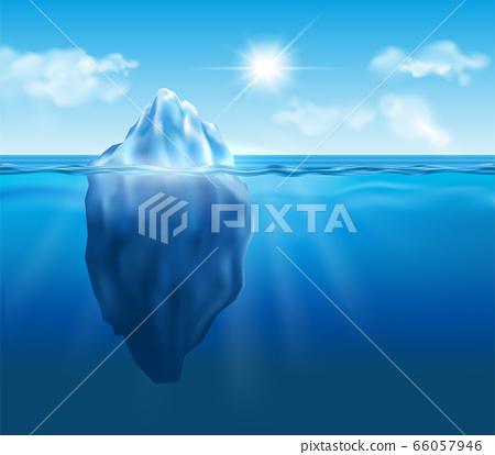 Vector iceberg floating in blue ocean with sun and 66057946