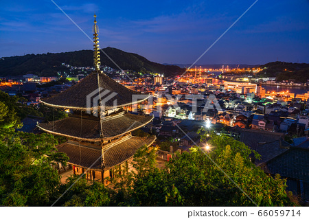 《Hiroshima Prefecture》 Night view of Onomichi, cityscape of Mie Tower 66059714