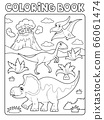 Coloring book dinosaur composition image 2 66061474