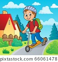 Boy on kick scooter theme image 2 66061478