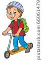 Boy on kick scooter theme image 1 66061479